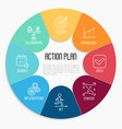 Action plan circle diagram with thin line icons