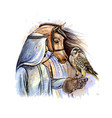 arabian man with a falcon and a horse from a vector image vector image