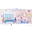 banner married couple working at home cartoon vector image
