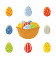 basket and set of easter eggs vector image vector image