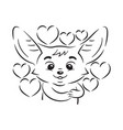 black and white cute enamoured fennec fox some vector image vector image