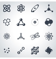 black atom icon set vector image