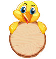 blank sign template with little chick on white vector image vector image