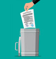businessman throws contract in trash bin vector image