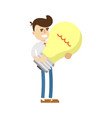 businessman with big light bulb icon vector image