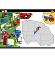 cartoon truck jigsaw puzzle game vector image vector image