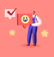 cheerful man wearing working robe holding huge vector image vector image