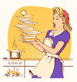 clumsy housewife and overlooked roast chicken in vector image vector image