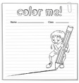 Coloring worksheet with a boy drawing a line vector image vector image