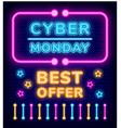 cyber monday best offer and clearance neon sign vector image vector image