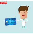 Doctor holding credit card vector image vector image