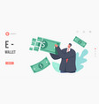 e-wallet online payment transaction landing page vector image vector image