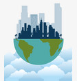 ecology green city with earth planet vector image vector image