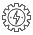 gear with lightning line icon ecology and energy vector image