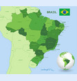 green brazil administrative map vector image vector image