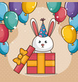 happy birthday card with cute bunny vector image vector image