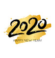 happy new year with 2020 hand drawn numbers vector image vector image