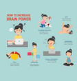 how to increase brain power infographic vector image vector image