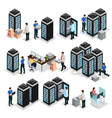 isometric data center collection vector image vector image
