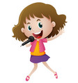 little girl singing with microphone vector image