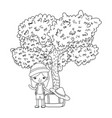 little tourist girl with tree vector image vector image