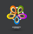 logo connecting people logo design company vector image vector image