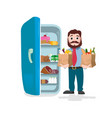 man holding the paper bags full of fruits vector image vector image