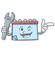 mechanic calendar mascot cartoon style vector image