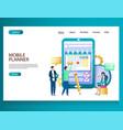 mobile planner website landing page design vector image