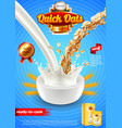 oatmeal ads pouring milk and oats vertical vector image vector image