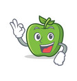 okay green apple character cartoon vector image vector image