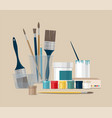 paints brushes pencils pen back to school vector image vector image