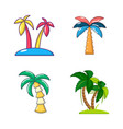 palm tree icon set cartoon style vector image vector image