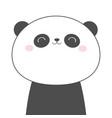 panda bear face head line sketch icon kawaii vector image vector image