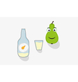 pear short glass and bottle vector image vector image