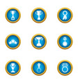 prize cup icons set flat style vector image vector image