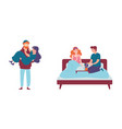 romantic happy couples having breakfast in bed vector image