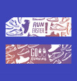 run faster lettering banner running shoes vector image