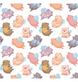 seamless pattern with mini piggy in the clouds vector image vector image