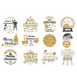 set merry christmas and happy new year stamp vector image vector image
