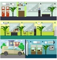 set of bank interior concept design vector image vector image