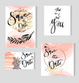 set of perfect wedding templates in goldenpastel vector image