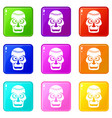 skull icons 9 set vector image vector image