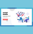 social media website landing page vector image vector image