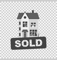 sold sign with house home for rental in flat style vector image vector image