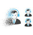 sparkle pixelated halftone radio manager icon with vector image
