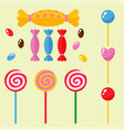 sweets and candies sugar dessert caramel lollipop vector image