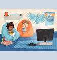 video game room kids at sofa playing at console vector image vector image