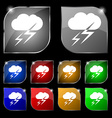 Weather icon sign Set of ten colorful buttons with vector image