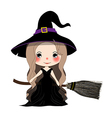 Witch with Hat Flying on Broom vector image vector image